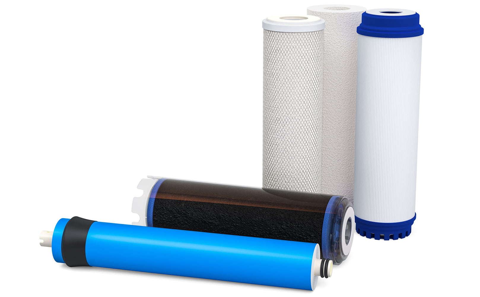 Different Water Filter Cartridges and Membranes