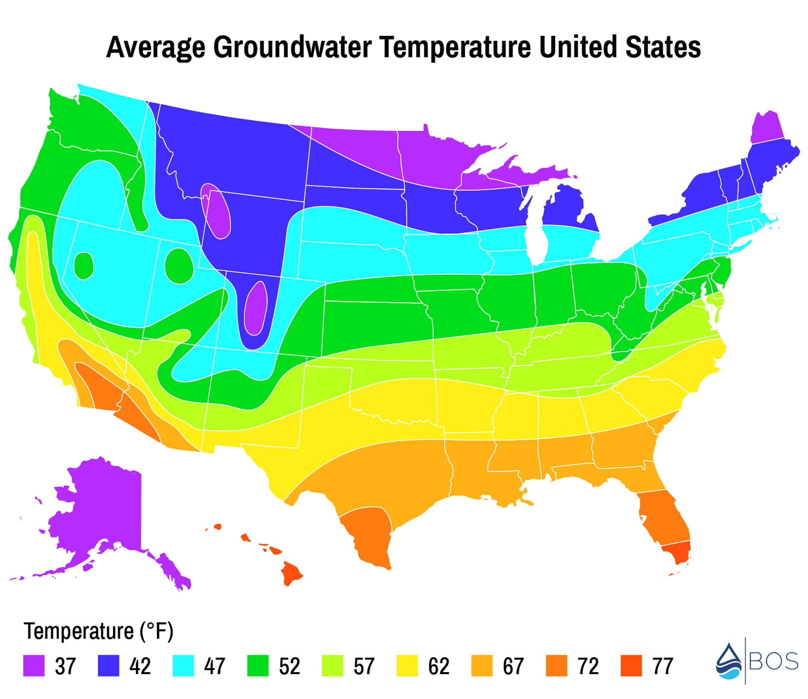 USA average groundwater temperature map colored